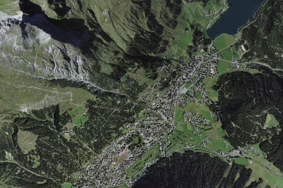 Aerial view of the region of Davos.